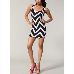 Black and White Chevron Dress