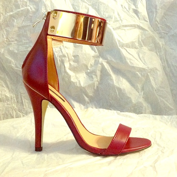 Forever 21 - ❌SOLD NWT Dark Red & Gold Ankle Strap heels from ...