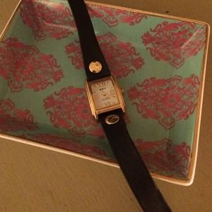 La Mer Collection Black Leather Wrap Watch