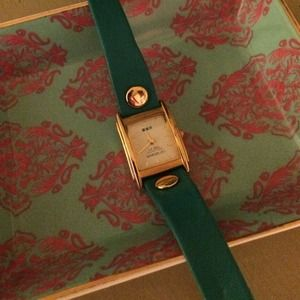 La Mer Collection Turquoise Leather Wrap Watch