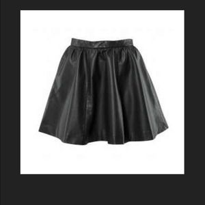 h m black faux leather skater skirt from renee s closet