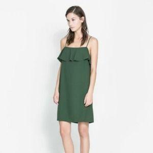 Zara green ruffle slip dress