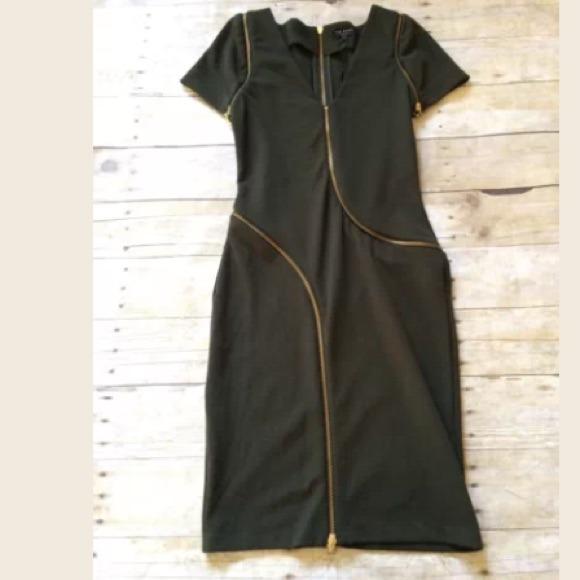 367b95a819154 Ted baker green zip detail dress sz 1 (us 4) NWT
