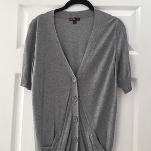 S/S button up sweater - heather grey