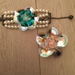 Lanvin x h&m bracelet and brooch set