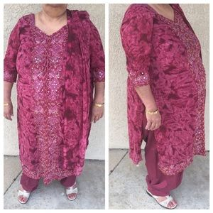 Dresses & Skirts - Wine shade embroidered indian dress