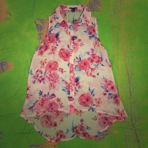 Floral high-low tank top