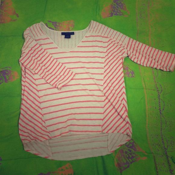 Calvin Klein Tops - Striped high-low t-shirt