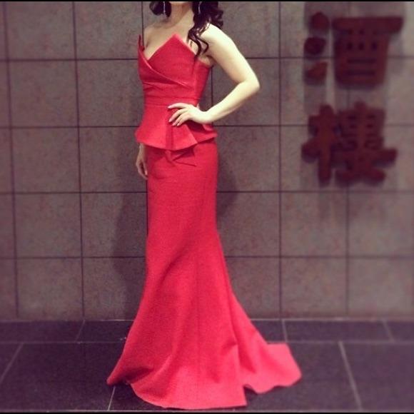 BCBG Dresses | Red Gracie Strapless Peplum Gown | Poshmark