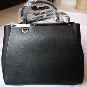 FENDI Handbags - Fendi 2Jours Black Medium Leather Shopper