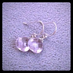 Pink amethyst & sterling silver briolette earrings