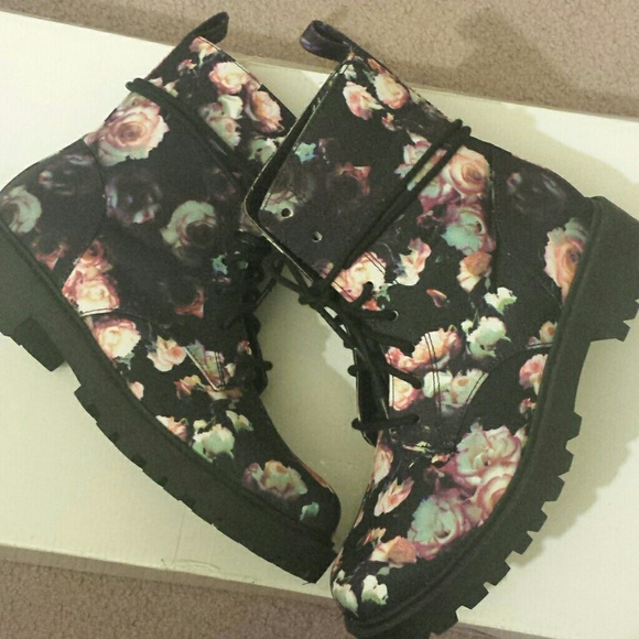 20% off H&M Boots - Rose Floral Print Combat Boots from Nicole\'s ...