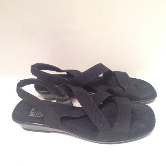 322a8fee93dee Mootsie Tootsies Black Elastic Sandals Shoes 7 1 2.  M 54b72d92eeb16f350d05b516
