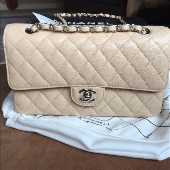 2ae17c98b811 Authentic Chanel Beige Classic Flap Bag