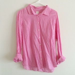 J.Crew perfect shirt gingham pink button up M