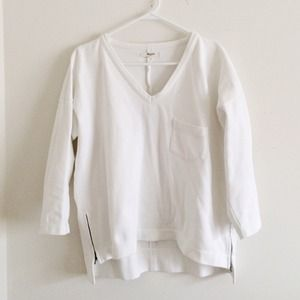 Madewell v neck white hi low top size L