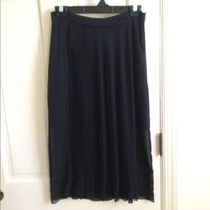ZARA black sheer sunburst pleated midi skirt