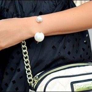 double pearl bracelet bangle
