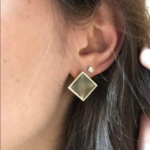Geometric Grey & Gold Stud Earrings
