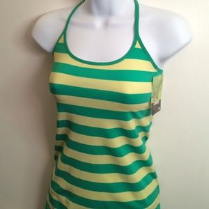 LeBODY Green Yellow Striped Tank Spaghetti Strap
