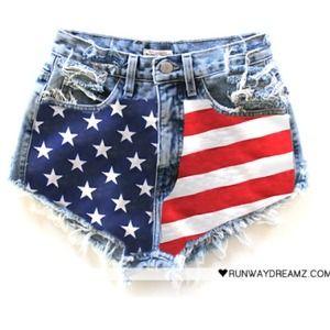 Runwaydreamz American flag high waisted shorts