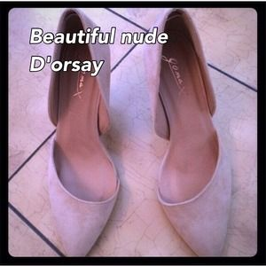 Shoes - Nude suede beautiful D'orsay!! 👍