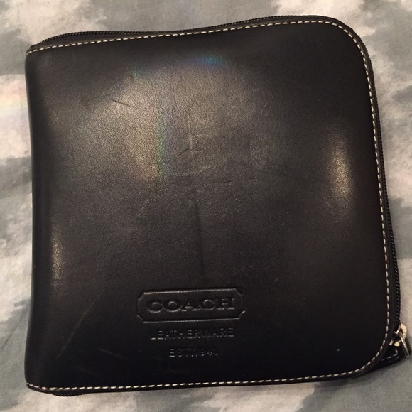 Coach Accessories Authentic Black Leather Cd Case And