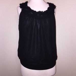 NWT Sheer Black Blouse with Flower Detail