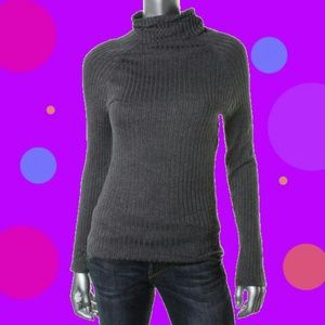 INC Gray Knit Ribbed Turtleneck Sweater