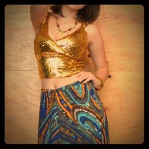 Vintage 60's Psychedelic Blue Swirl Maxi Skirt M