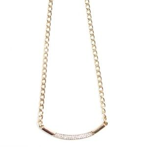 Rhinestone tube gold necklace