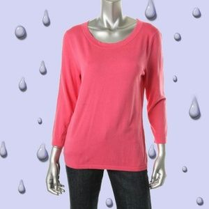 August Silk Pink Silk Knit 3/4 Sleeves Sweater