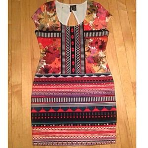 New! Beautiful bodycon print dress large