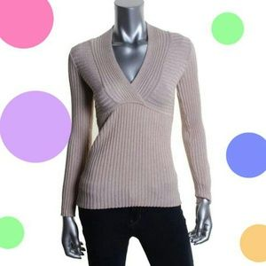 INC Pink Metallic Ribbed Knit Pullover Sweater