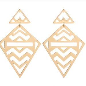 Diamond Shaped Gold Earrings