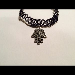 Hamsa tattoo choker necklace