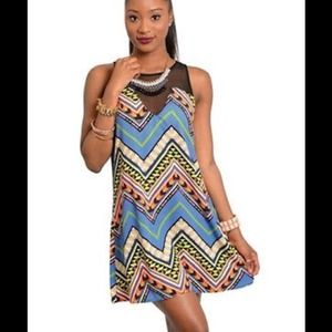 Millibon Womens Tribal Chevron Mini Dress