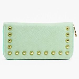 Mint Green Wallet with Gold Studs