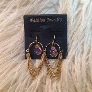 Gold Chain w/Iridescent Stones Earrings
