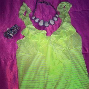 Charlotte Russe neon ruffled tank top