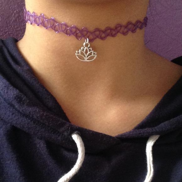 Purple Lotus Flower Tattoo Choker