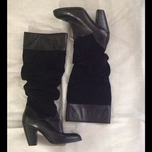 Zodiac, black leather & suede slouch boots