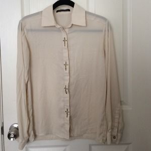 Cream Cross Button-Up Blouse