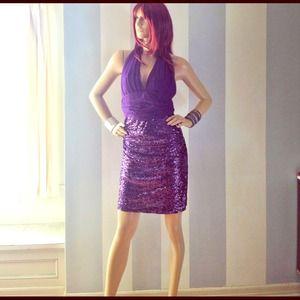 Badgley Mischka Mark and James purple mesh dress 6