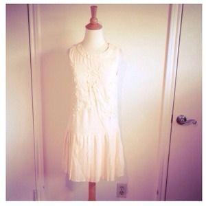 Beaded Cream Mod Flapper Dress