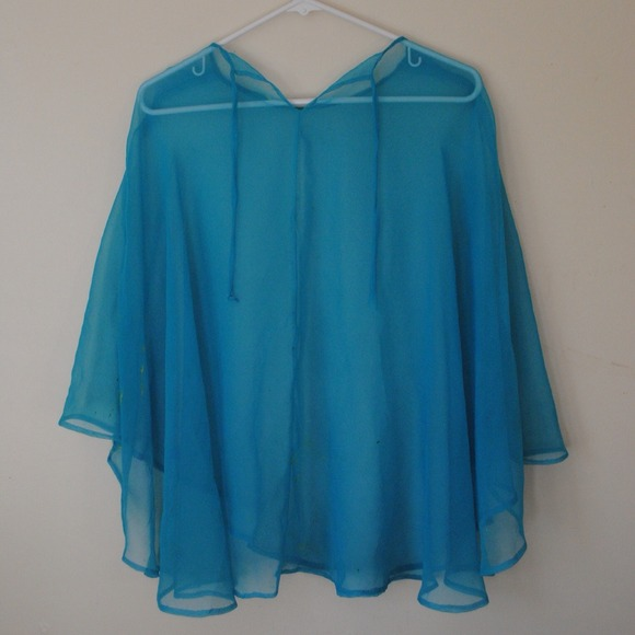 Outerwear - BABY BLUE MESH PONCHO