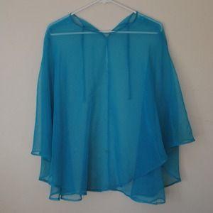 Jackets & Coats - BABY BLUE MESH PONCHO