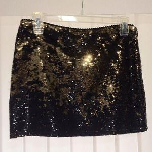 Forever 21 Black & Gold Sequin Skirt