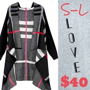 Outerwear - Black, grey, and pink strip cardigan