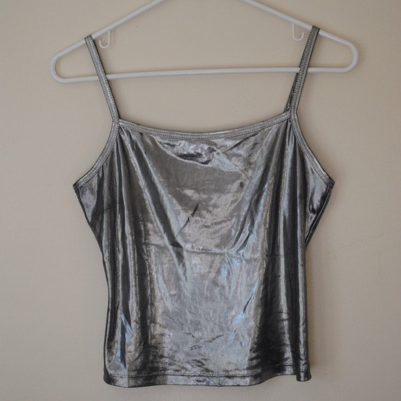 Tops - ***SOLD*** SHINY SILVER CROPPED TANK